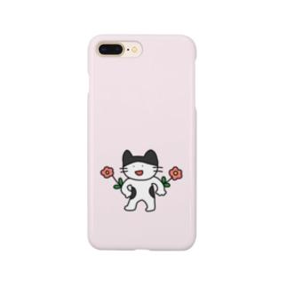 ひじガーデニングハチワレ猫 Smartphone cases