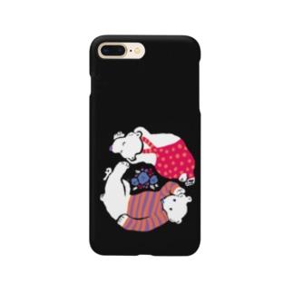 クマとクマがごろごろon黒 Smartphone cases