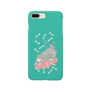 のび~るマヌルネコ_グリーン Smartphone cases