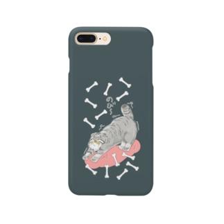 のび~るマヌルネコ_グレージュ Smartphone cases