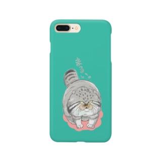 まる~いマヌルネコ_グリーン Smartphone cases
