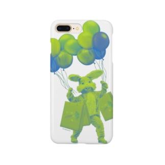 うさぎさんのお買い物 グリーン Smartphone cases