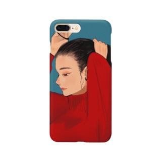 黒髪ポニーテール赤ニット Smartphone cases