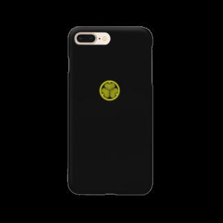 tomo-miseのkamon 三つ葉葵 (徳川家) BK(スマホケース) Smartphone cases
