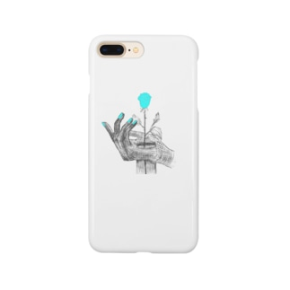 広がる手と青い薔薇 Smartphone cases