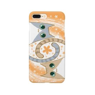ゆるい系の猫-おれんじ色- Smartphone cases