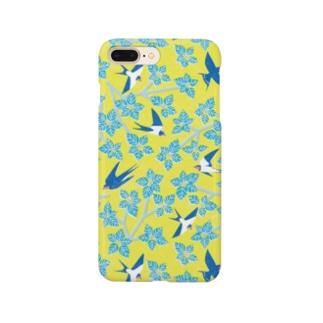 ツバメとミズキ イエロー Smartphone cases