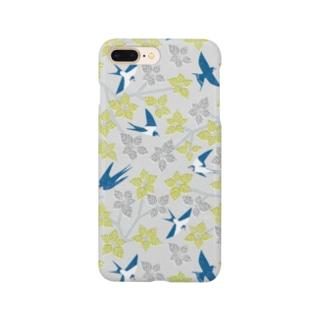 ツバメとミズキ グレー Smartphone cases