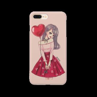 aromaの赤い風船と女の子 Smartphone cases