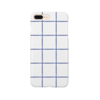 チェックデカめあお Smartphone cases