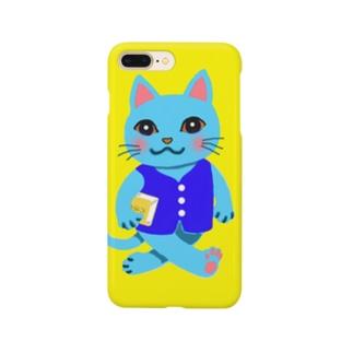 Smart school cat (黄色) スマートフォンケース