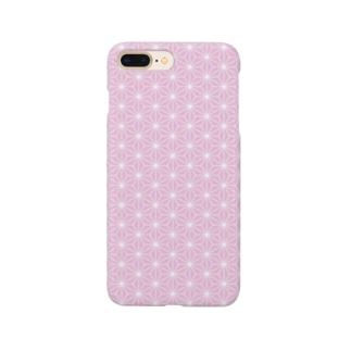 組子模様 麻の葉 ピンク Smartphone cases
