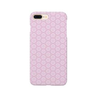 組子模様 桜 ピンク Smartphone cases