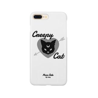 MOON SIDE】 Creepy Cat #White Smartphone cases
