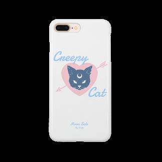 IENITY / MOON SIDEの【MOON SIDE】 Creepy Cat #White*Blue Smartphone cases