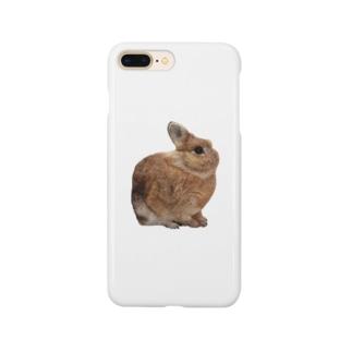 羊毛フェルトのふわふわ野うさぎ Smartphone cases