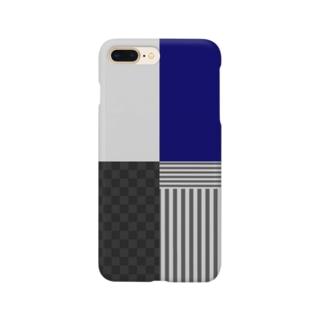 和柄(灰/紺) Smartphone cases