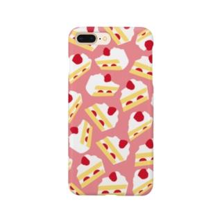 ショートケーキiPhoneケース(小洒落ピンク) Smartphone cases