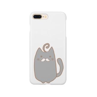 ひげねこ。(黒) Smartphone cases