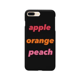 apple  orange  peach  黒 スマートフォンケース