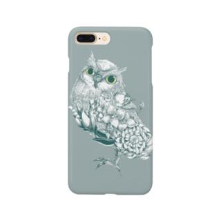 花と梟 Smartphone cases
