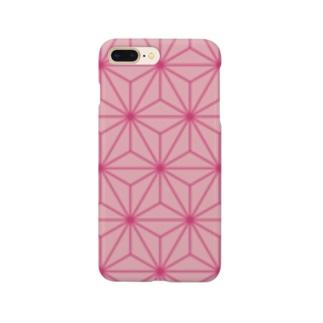 和柄 ピンク麻柄 Smartphone cases