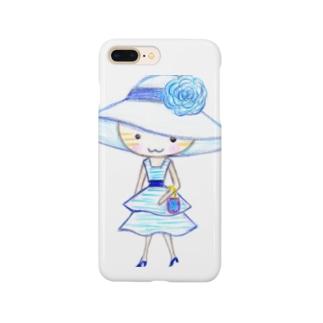 茶トラの女の子ミミ ブルーワンピ  Smartphone cases
