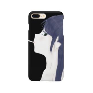 彼女のたばこ(黒) Smartphone cases