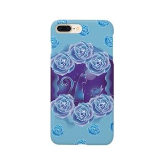 青いバラと青い猫 Smartphone cases