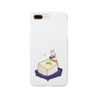 冷奴にしょう油をかけるうさぎ Smartphone cases
