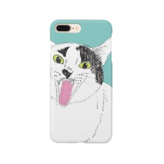 てんベロ出し みーこ&てん  猫 白黒猫 イラスト 保護猫 Smartphone cases