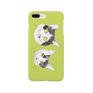 みーこ&てん スマホケース 猫 白黒猫 イラスト 保護猫 Smartphone cases