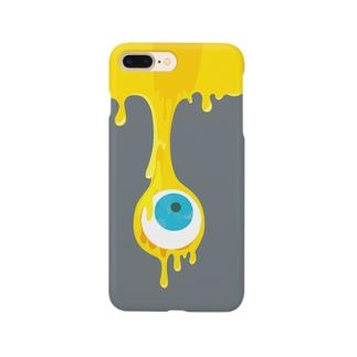 目玉とろり_グレー Smartphone cases