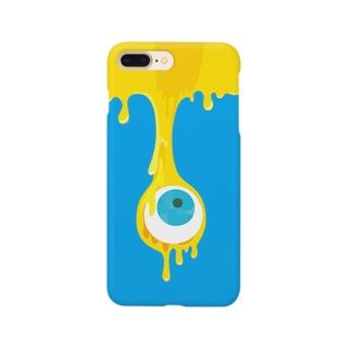 目玉とろり_ブルー Smartphone cases