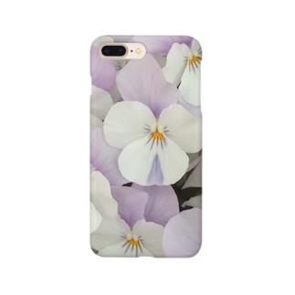 淡紫白パンジー スマートフォンケース