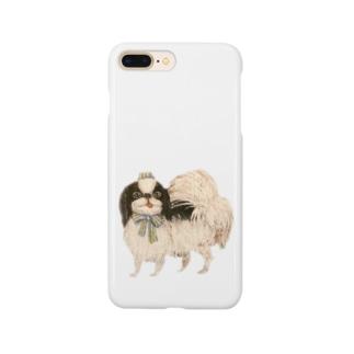 ヤマネコ。の部屋の狆 ブルーリボン Smartphone cases