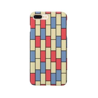 ことばの丘グッズショップのスマホケースNo.2(赤×青×ベージュ) Smartphone cases