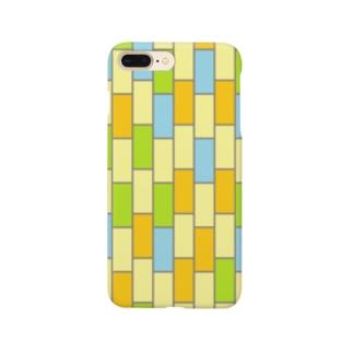 アイフォンケースNo.3(水色×緑色×オレンジ×ベージュ) スマートフォンケース