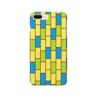 ことばの丘グッズショップのスマホケースNo.5(青×緑×黄色) Smartphone cases