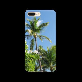 Atelier Fのヤシの木と白い花 ハワイ オアフ島 Smartphone cases
