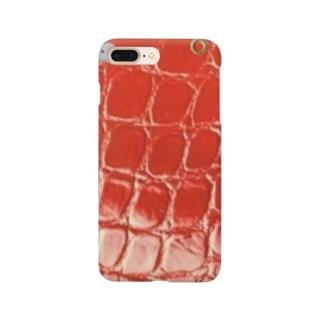 クロコ赤 Smartphone cases
