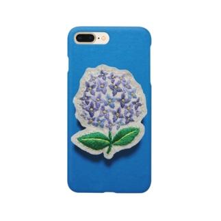 刺繍のアジサイ Smartphone cases