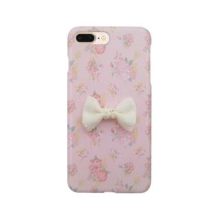 ピンク花柄に白いリボン Smartphone cases
