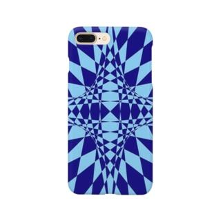 模様(青・水色) Smartphone cases