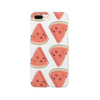 にくらしいスイカのパターン Smartphone cases