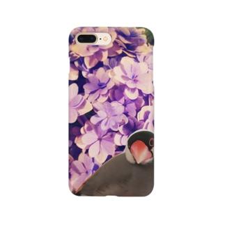 ノスタルジーな紫陽花と文鳥さん Smartphone cases