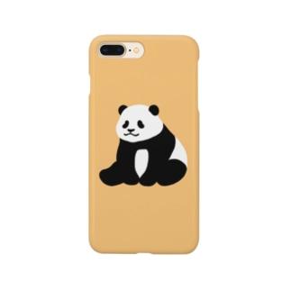 ころころパンダ(おすわり)(オレンジ) Smartphone cases