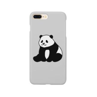 ころころパンダ(おすわり)(グレー) Smartphone cases