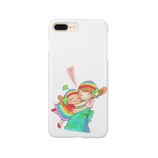 オリジナルキャラ「ハッピーちゃん」ぎゅぅ〜 Smartphone cases
