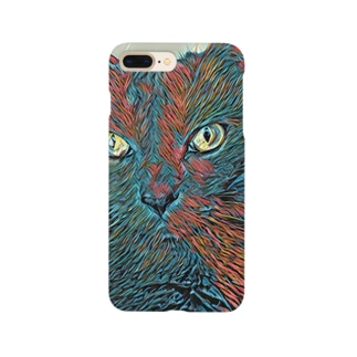L&T(正面・赤青猫1) Smartphone cases